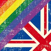 Mixed grunge gay flag with english flag.
