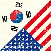 USA and south Korean grunge Flag. this flag represents the relationship  between the South korea and