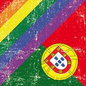 image of gay flag  - Portuguese and gay grunge Flag Mixed grunge gay flag with Portuguese flag - JPG