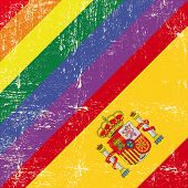Spanish and gay grunge Flag. Mixed grunge gay flag with spanish flag.