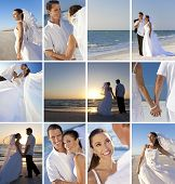 Montage of a happy, smiling married couple on their wedding day or honeymoon at a deserted beach cel