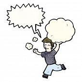cartoon man carrying cloud