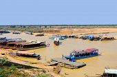 Tourists boats on the Tonle sap River