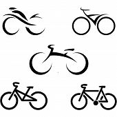 Set de iconos con bicicletas estilizadas, vector illustration