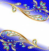 Background With Precious Stones, Gold Pattern, And Flowers