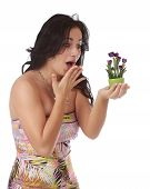 Expressive Woman With Tiny Tulips