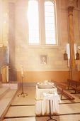 stock photo of christening  - altar on church with elements for christening - JPG
