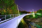 GREENVILLE, SOUTH CAROLINA - APR 25 Liberty Bridge April 25, 2013 in Greenville, SC. Below the bridg