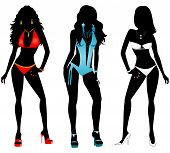 stock photo of monokini  - Vector Illustration of three different swimsuit silhouette women in bikini and monokini swimwear - JPG
