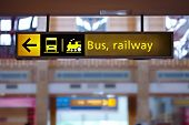 Bus and railway station sign
