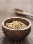 stock photo of buckwheat  - close up of a bowl of buckwheat grains - JPG