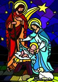 stock photo of mary  - Vector illustration of the holy family of the nativity or birth of Jesus created as stained glass - JPG