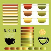 Set Of Tea Vintage Vector