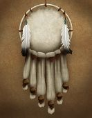foto of dreamcatcher  - painting of a traditional Native American dreamcatcher decorated with fur and feathers - JPG