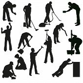 Set Of Thirteen Professional Cleaners Black  Silhouettes.eps
