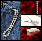 Collage of classic cultured pearls from casual to elegant.