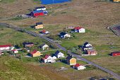 stock photo of lofoten  - Scenic norwegian village on Lofoten islands in summer - JPG