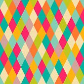 stock photo of rhombus  - Harlequin vintage seamless pattern - JPG
