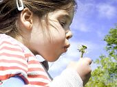 young girl blowing a dandelion