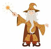 Wizard casting spell with magic wand
