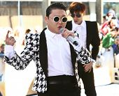 NEW YORK-MAY 3: Korean rapper Psy performs on the Today Show at Rockefeller Plaza on May 3, 2013 in