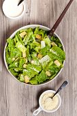 picture of caesar salad  - The Caesar salad prepared on the classical recipe - JPG