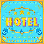 illustration of hotel poster in Indian truck paint style