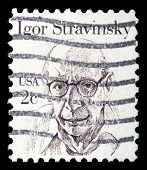 UNITED STATES OF AMERICA - CIRCA 1980: A stamp printed in the USA shows image of composer Igor Stravinsky, circa 1980
