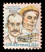 UNITED STATES OF AMERICA - CIRCA 1995: A Stamp printed in USA shows image of the brothers Orville an