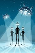 Alien newcomers and flying saucers UFO with bright light. Eps10 vector illustration