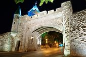 picture of dauphin  - Porte Dauphine gate closeup at night in Quebec City - JPG