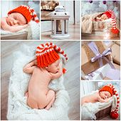 Collage of a christmass newborn baby photos