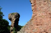 stock photo of rosslyn  - castle wall ruins behind Rosslyn Chapel Scotland UK - JPG