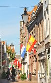 National Flags On Celebratory Street  In Dordrecht, Netherlands
