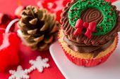 choco Christmas cupcake with decoration