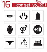 Vector black sex icons set