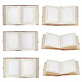 Set Of Old Open Photo Albums Isolated On White Background.