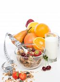 Muesli Cereals Bowl And Spoon With Tape Measure Centimetr Raisins