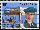 A stamp printed in Australia shows Harry Hawker