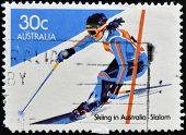 stamp printed in Australia shows slalom