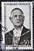 A stamp printed in France shows General de Gaulle