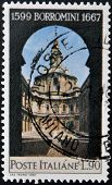 a stamp printed in Italy shows St Ivo Church Rome Francesco Borromini Architect