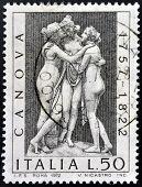 ITALY - CIRCA 1972: stamp printed in Italy shows The three graces by Antonio Canova circa 1972