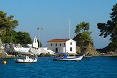 Parga white church on Panagia island, Greece