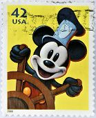 A stamp printed in USA shows Mickey Mouse