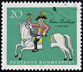 stamp shows Munchhausen on his severed horse soldier, storyteller Count Hieronymus von Munchhausen