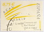 Stamp printed in spain commemorating the centenary of the Real Madrid football club