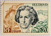 stamp shows Ludwig van Beethoven famous classical music composer and virtuoso pianist