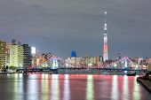 Tokyo cityscape  and Tokyo skytree at night along river