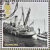 stamps printed in United Kingdom dedicated to Britain Alone Dunkirk shows Boats from Evacuation